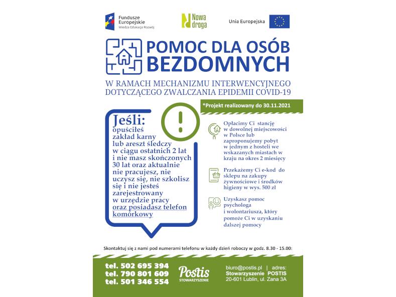 Pomoc dla osób bezdomnych w ramach mechanizmu interwencyjnego dot. zwalczania epidemii COVID-19